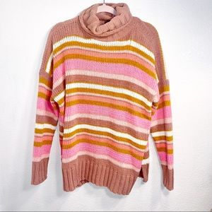 Aerie chenille stripe long turtleneck sweater XS